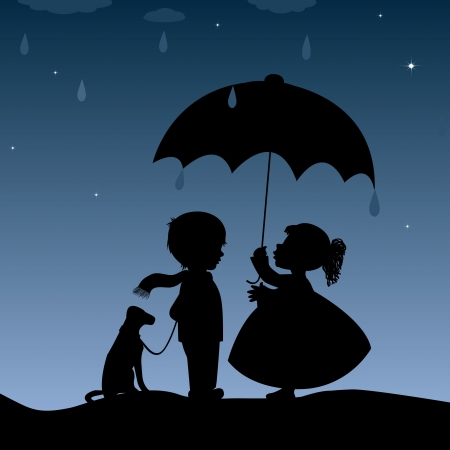 Kids with an umbrella Vector