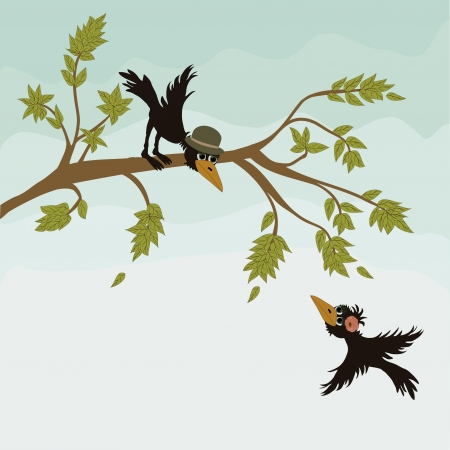 Funny crows Vector