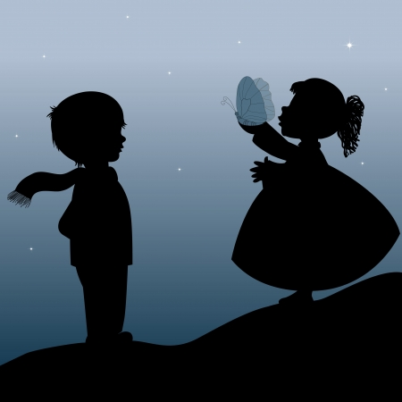 little boy and girl: Kids and butterfly Illustration