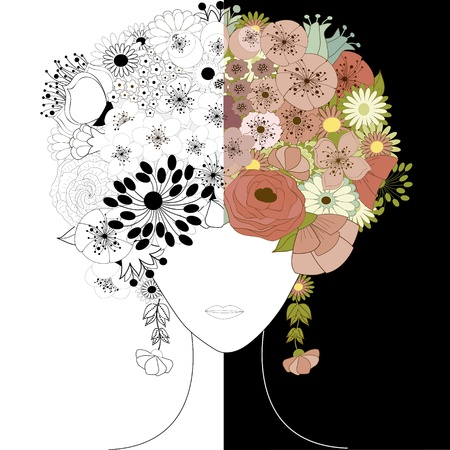 blue hair: Woman floral silhouette Illustration