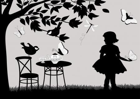 Girl in the garden Vector