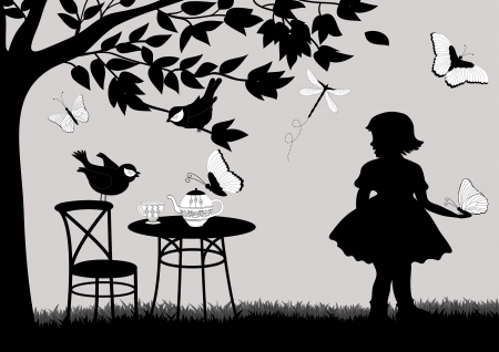 coffee tree: Girl in the garden