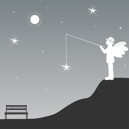 moon chair: Angel Illustration