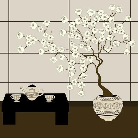 coffee tree: Japanese background