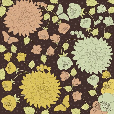 pink and brown: Background floral pattern