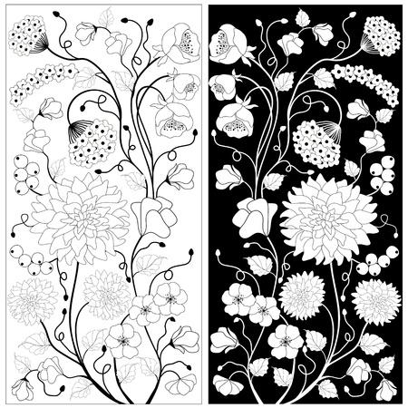 Fleurs noires et blanches Illustration