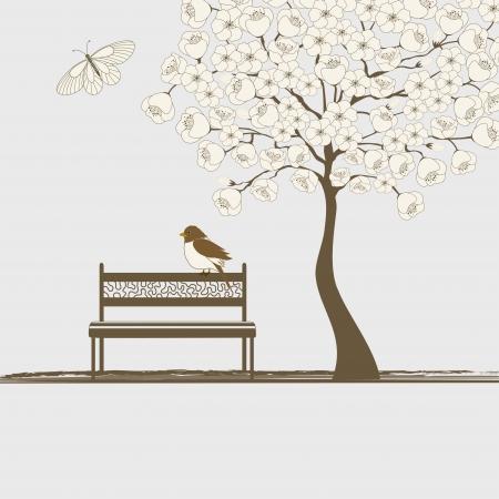 Tájkép fa, lepke és madár padon