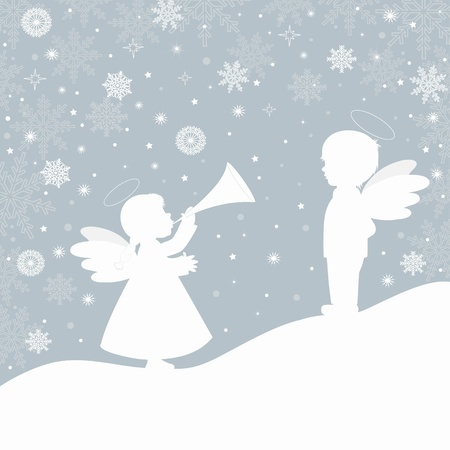 Christmas landscape with snowflake and angels, and place for text