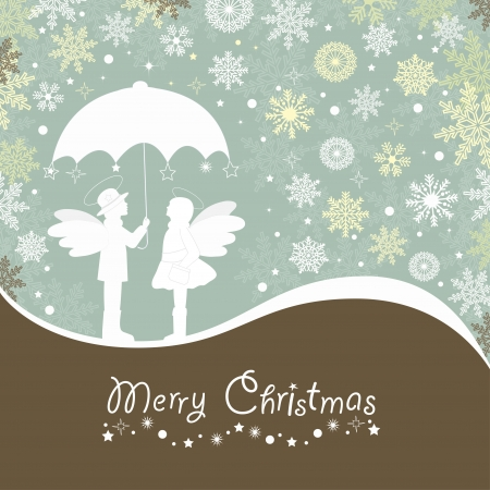 Christmas  card with snowflake and angels with umbrella