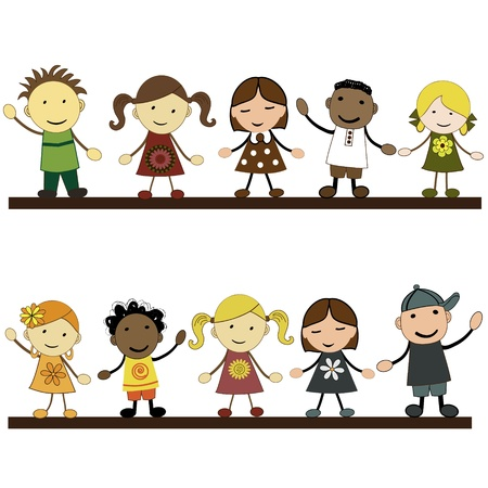 children playing cartoon:  Girls and boys, white background, vector illustration