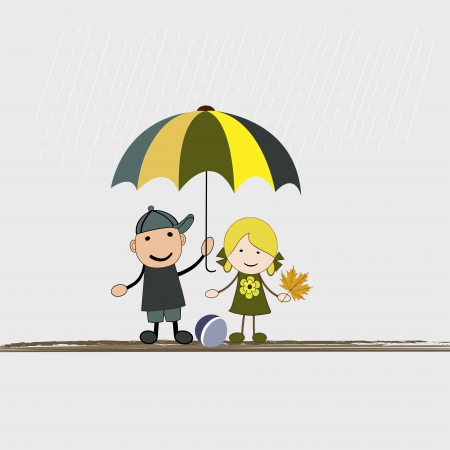 Children with umbrella in rain in vector Vector