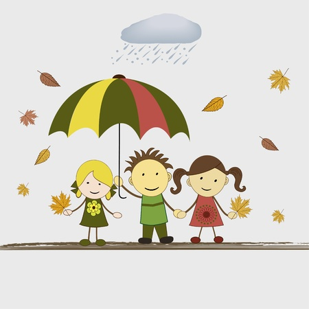 Kids with umbrella in rain, vector illustration Vector