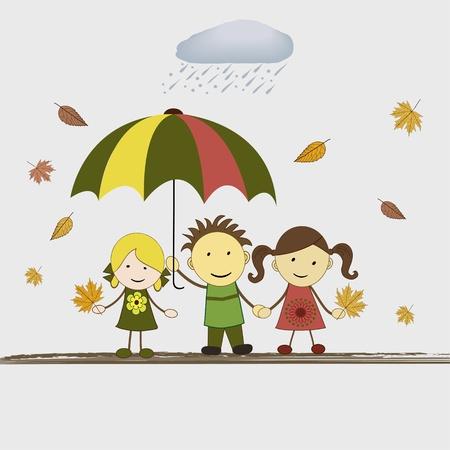 Kids with umbrella in rain, vector illustration Stock Vector - 22149443
