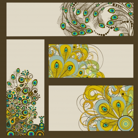 peacock pattern: Abstract set of business cards with place for text