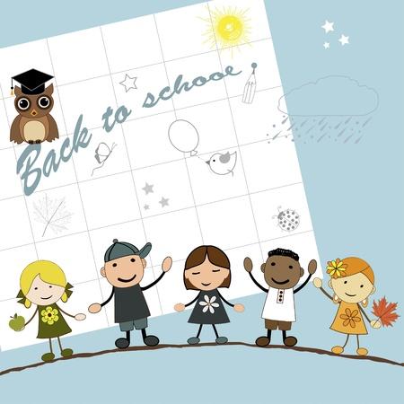 Cute happy cartoon kids, back to school, in vector