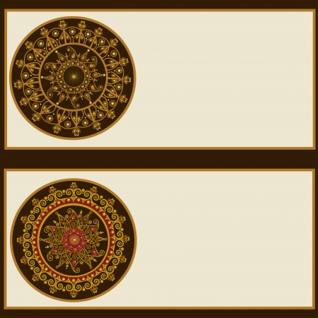 Set of ornamental round banners decoration with place for text Vector