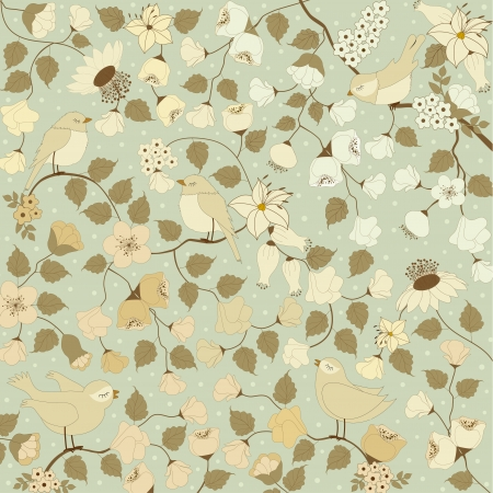 Background of spring flowers with leafs and birds in vector Stock Vector - 23180128