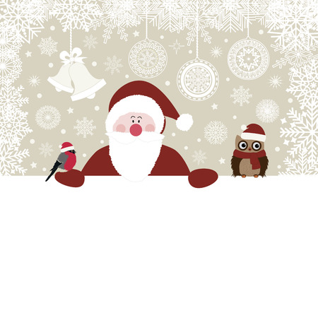 Karácsonyi kártya Mikulás és madarak vektoros illusztráció