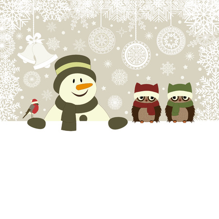 noel: Christmas card with snowman and birds vector illustration
