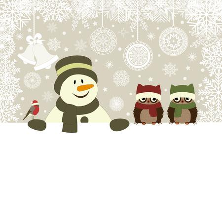Karácsonyi kártya hóember és a madarak vektoros illusztráció