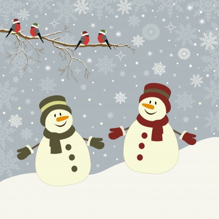 Christmas card with snowmen and bird vector illustration 일러스트