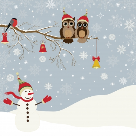 Christmas card a branch with owls, bells and a bird, and a Snowman Stock Illustratie
