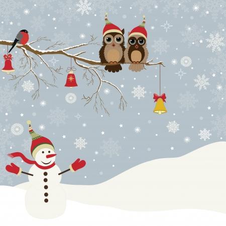 Weihnachtskarte ein Zweig mit Eulen, Glocken und einem Vogel und ein Schneemann