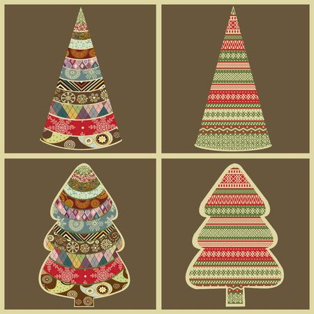 Set of abstract Christmas trees in vector Vector
