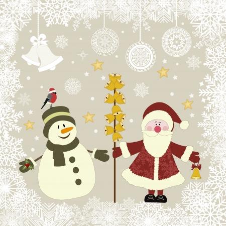 No�l ic�nes r�tro, illustration vectorielle avec bonhomme de neige et le P�re No�l