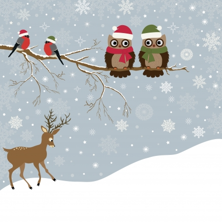 Christmas card a branch with owls and  birds, and a deer Vector