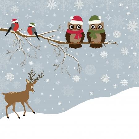 Karácsonyi kártya egy ág a baglyok és a madarak, és a szarvas