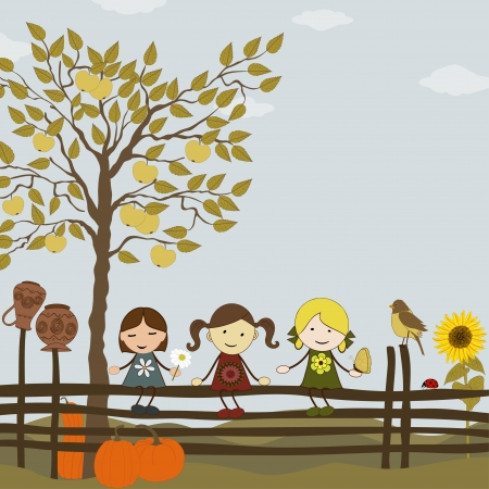 Autumn tree in the garden with girl on fence Vector