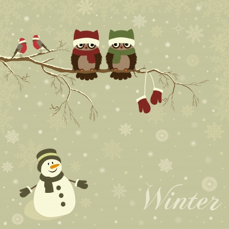 Christmas card a branch with birds in vector