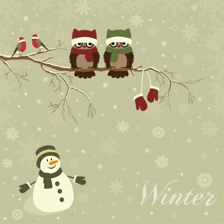 snowmen: Christmas card a branch with birds in vector