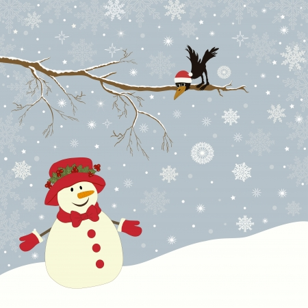 Christmas card a branch with crow and a snowman Illustration