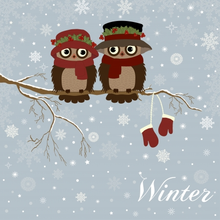 Christmas card a branch with owls in vector Ilustração