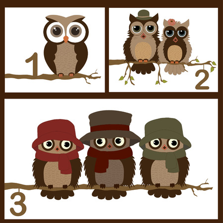 Collage illustrations with cute owls in vector Vector