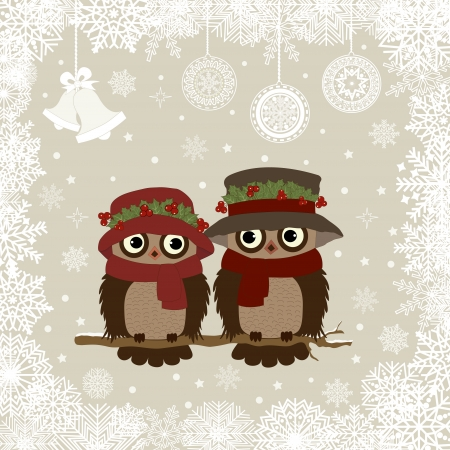Christmas card a branch with owls in vector Illustration