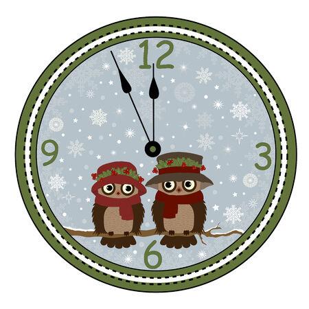 estrella caricatura: Tarjeta de felicitaci�n de un reloj con los b�hos en la rama Vectores