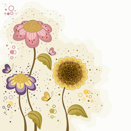 Köszönés, kártya, színes virágok és lepkék