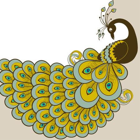 the decor: Tarjeta con extracto hermoso pavo real en el vector Vectores