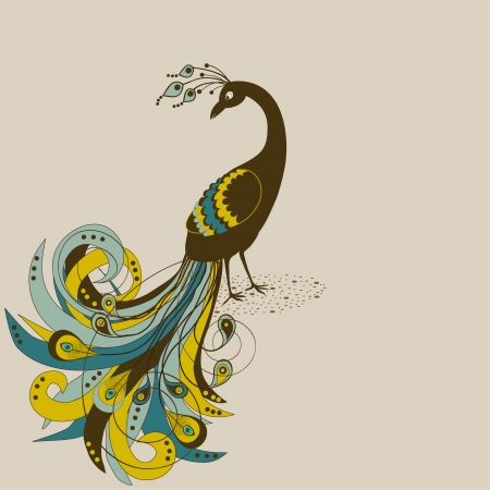 Card with abstract beautiful peacock on beige background Illustration