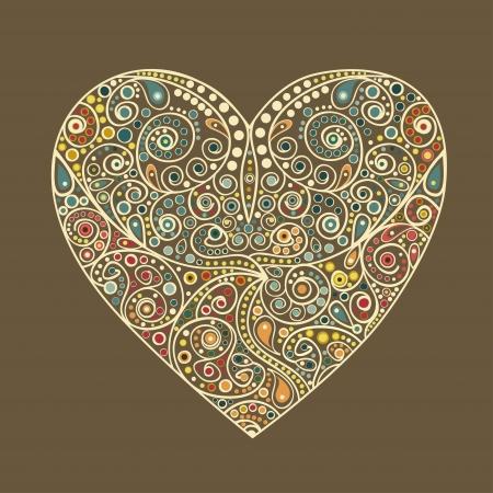 february 14: Ornamental elegant Valentine heart on brown background