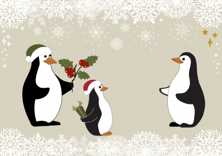Greeting card with Christmas penguins family and snowflake Vector
