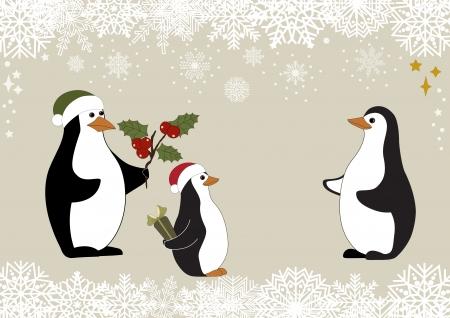 pinguinos navidenos: Tarjeta de felicitaci�n con los ping�inos de la Navidad de la familia y del copo de nieve