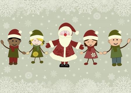 Karácsonyi üdvözlőlap fehér gyerekek karácsonyi jelmezek és a Santa Claus