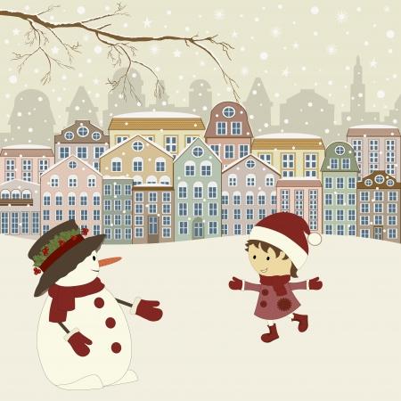 Carte de voeux de No�l avec des maisons en hiver