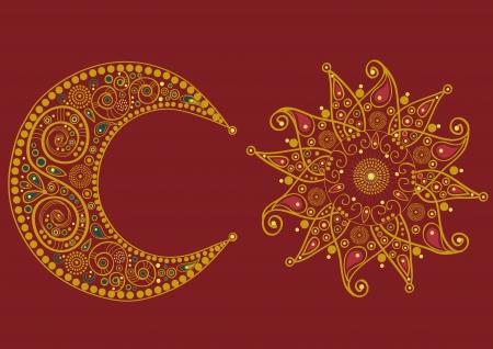 Abstracte gestileerde zon en maan op rode achtergrond