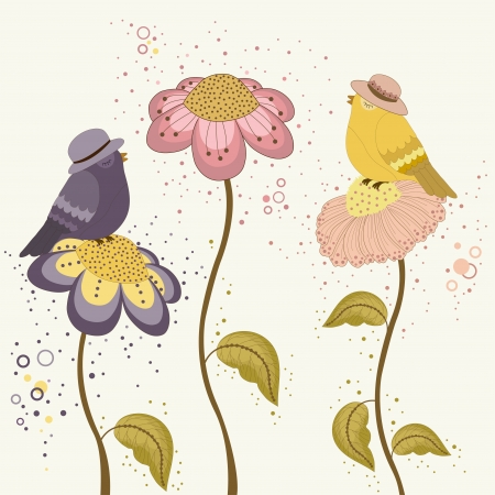 Card with cute bird on spring flowers Vector