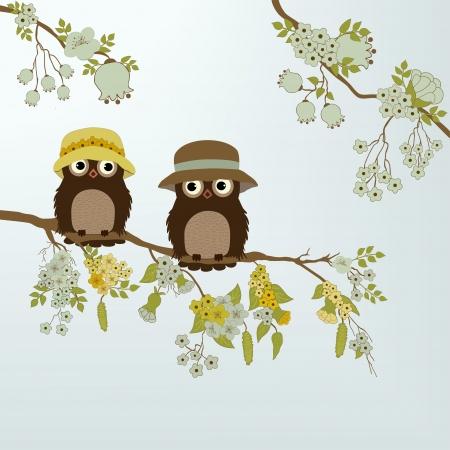 Hiboux mignons sur la branche avec des fleurs et des feuilles